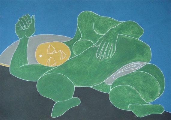 Liegender Akt grün I Abtönfarbe auf Karton - 100 x 70 cm