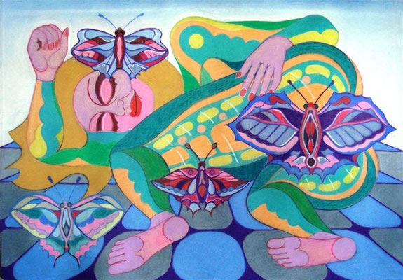Schmetterlingstraumfrau I Pastellkreide auf Karton - 100 x 70 cm