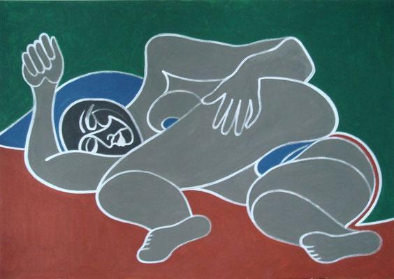 Liegender Akt grau I Abtönfarbe auf Karton - 100 x 70 cm