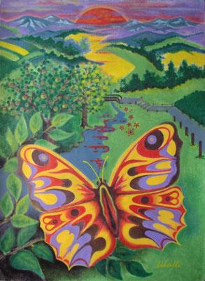 Schmetterling vor Abendrot I Öl auf Karton - 70 x 100 cm