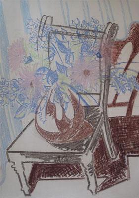 Vase mit Blumen auf Stuhl I Pastellkreide auf Karton - 70 x 100 cm