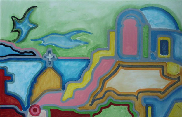 Urlaubsgrüße aus Santorin 2 I Öl auf Karton - 65 x 100 cm