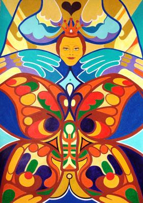 Bunter Falter I Acryl auf Karton - 70 x 100 cm