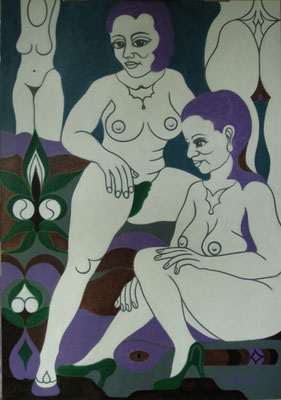 Weiße Frauen I Öl auf Karton - 70 x 100 cm