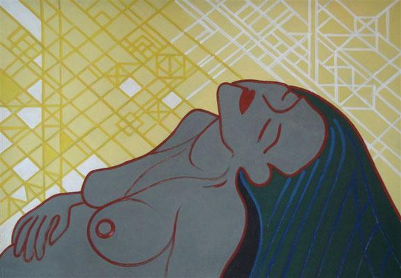 Warten auf Sonnenlicht I Abtönfarbe auf Karton - 100 x 70 cm