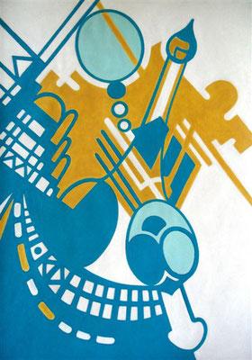 Konstruktion in Blau-Gelb-Weiss I Abtönfarbe auf Karton - 70 x 100 cm