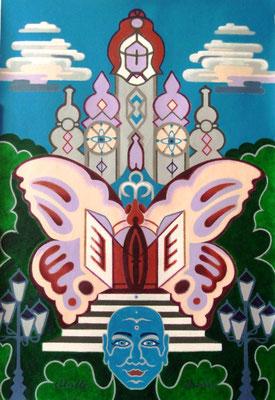 Pink Butterfly Blues I Acryl auf Karton - 70 x 100 cm