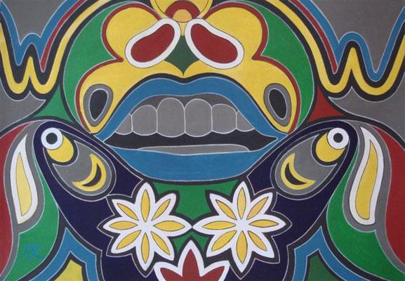 Mach' den Mund zu I Abtönfarbe auf Karton - 100 x 70 cm