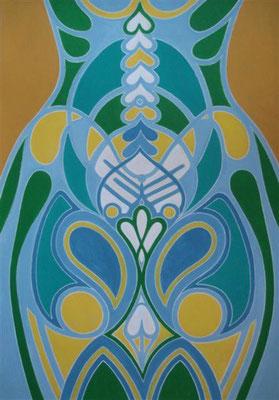 Hohlkörper von innen belebt I Abtönfarbe auf Karton - 70 x 100 cm