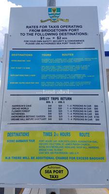 Barbados Cruise Terminal Taxipreise
