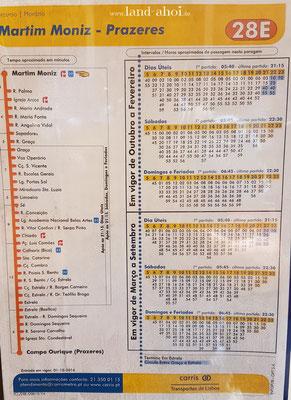 Lissabon Straßenbahn 28E Fahrplan