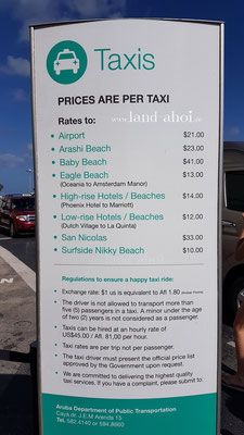 Aruba Oranjestad Taxi Preise