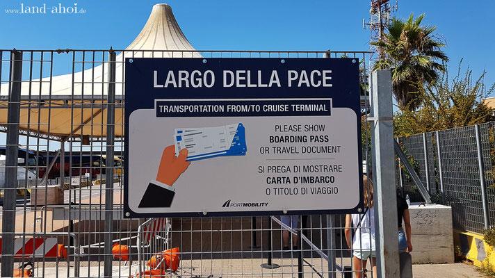 Largo Della Pace - Stopp der Shuttlebusse
