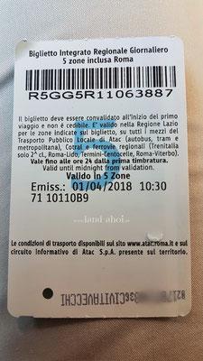 BIRG Ticket Rückseite mit Entwertungsstempel