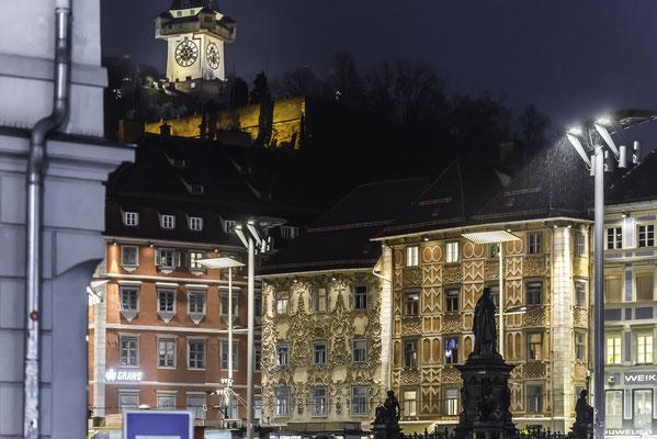 Grazer Hauptplatz mit Blick zum Uhrturm