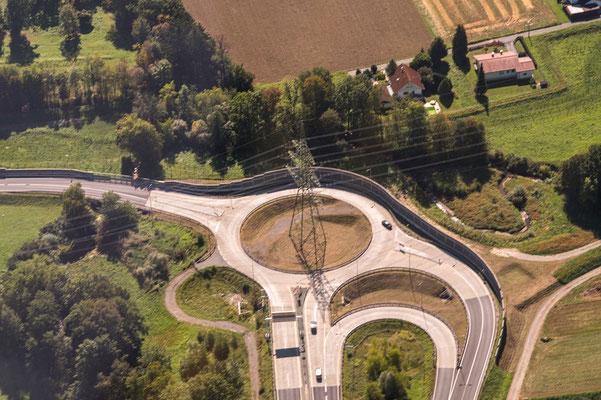Kreisverkehr neben dem Knoten Graz West A2
