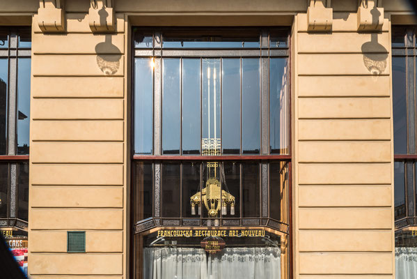 Fassade Französisches Restaurant Jugendstil.
