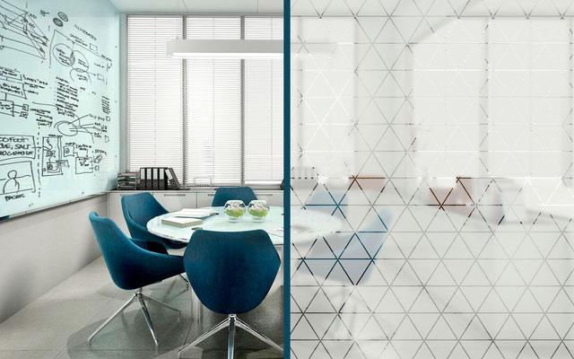 Glasbeklebung mit Glasdekorfolie (Mattglaseffekt/Milchglaseffekt) zur Raumgestaltung in diversen Motiven