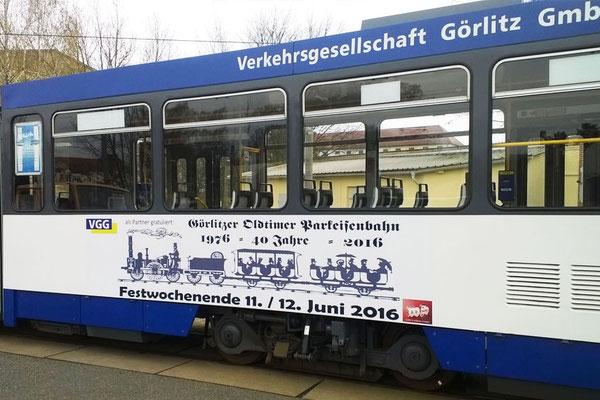 Schubert-Werbung ist Unterstützer der Görlitzer Oldtimer Parkeisenbahn; Hier Straßenbahnbeschriftung