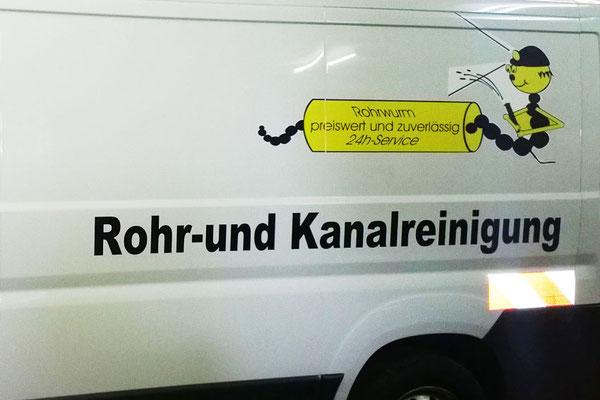 """Fahrzeugbeschriftung für """"Rohrwurm"""""""