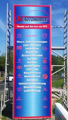 Säulenbeschriftung für SE-Automobile Görlitz