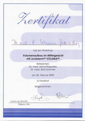 """Zertifikat """"Volumenaufbau im Mittelgesicht"""""""