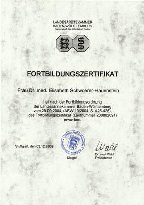 Landesärztekammer BW - Fortbildungszertifikat