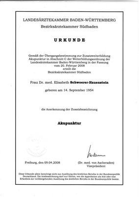 Landesärztekammer Baden Württemberg URKUNDE