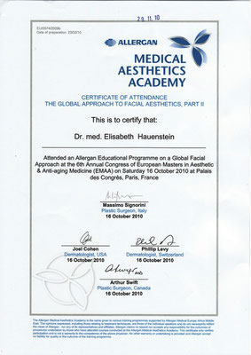 ALLERGAN - Medical Aesthetics Academy Zertifikat