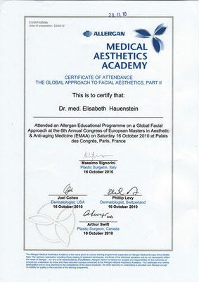 ALLERGAN - Medical Aesthetics Academy Zertifikat