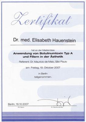 Teilnahme an der Masterclass: Anwendung von Botulinumtoxin Typ A und Fillern in der Ästhetik