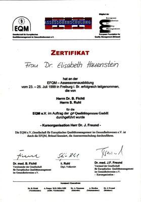 EFQM - Assessorenausbildung - Frau Dr. Elisabeth Hauenstein