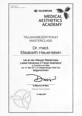 ALLERGAN Medical Aesthetics Academy - Teilnahmezertifikat Masterclass