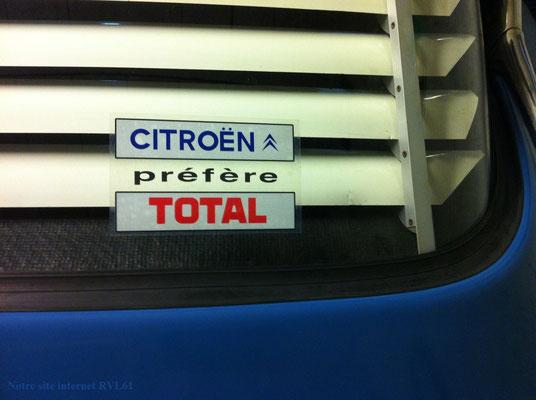 Automobilia Autocollant Citroën Préfère Total Pour Vitre Arrière