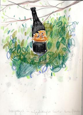 Vogelbabies in der leeren Ölflasche