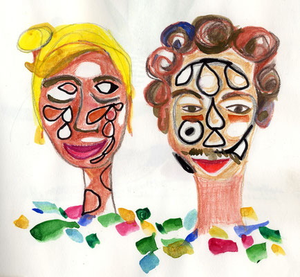 Tante und Onkel mit Gesichtsbemalung