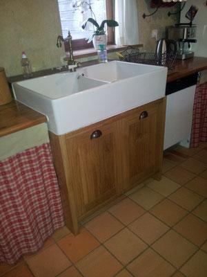 meuble sous évier chêne timbre office fabricant meuble Morbihan