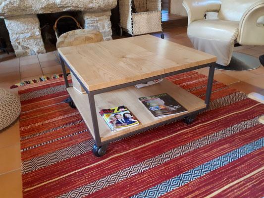 table basse salon roulette acier bois fabricant meuble Morbihan