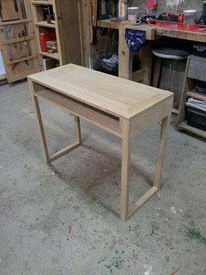 bureau étroit chêne massif fabricant meuble Morbihan