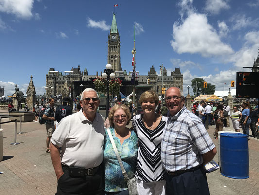 Rick and Brenda McLauchlan, Jackie Cornett and Gill Small in Ottawa on Parliament Hill.