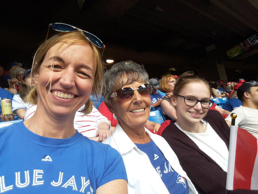 Alice Derkzen  spent her Canada Day at the Rogers centre in Toronto watching the Blue Jays  with her daughter, son-in-law and granddaughter.