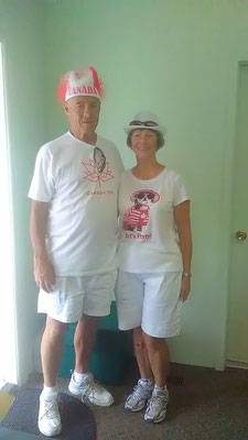 Ian and Shirley Hunter played lawn bowling in Lindsay!