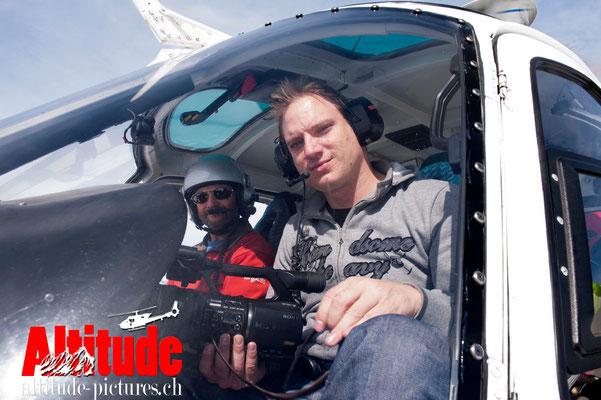 Notre Pilote Gilbert Fournier dit Pipette et Pascal notre cameraman