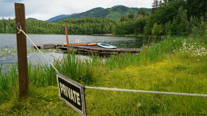 Blick vom Restaurant aus, in dem See hat es Wasserschildkröten, die wie angemalt aussehen