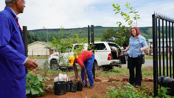 Cheryl (rechts) hat die Obstbäume gesponsert