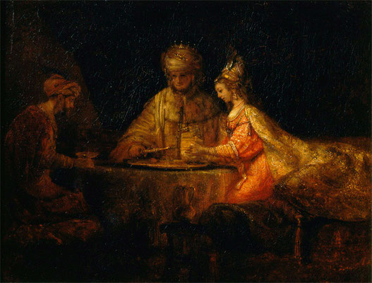 "Rembrandt ""Ahasveros and Haman at the Feast of Esther"""