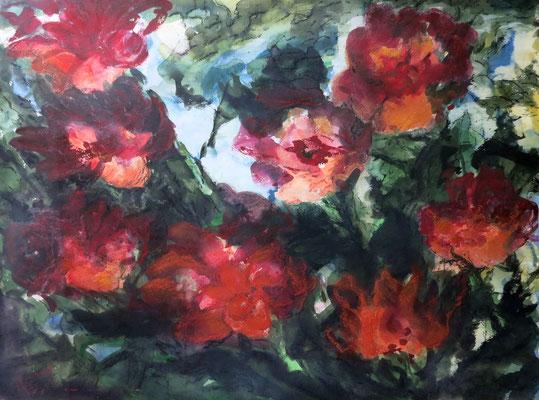 Titel: Rote Blumen, Maße: 79x59 cm, Technik: Aquarell/ Pastell, Jahr: 1998