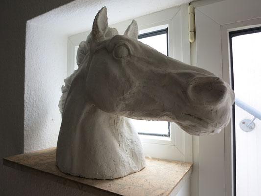 Titel: Pferdekopf, Material: Beton, Maße: 38x55 cm, Jahr: 2008