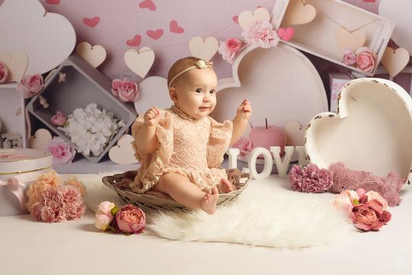 séance photo bébé,  thème amourette
