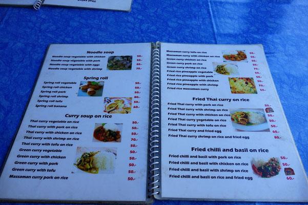 Speisekarte auf Koh Phangan